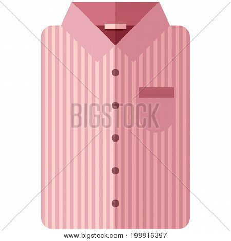 Vector Icon of a modern pink shirt with dark stripes for men or woman in flat style without lines. Pixel perfect. Bussiness and office look. For shops and stores