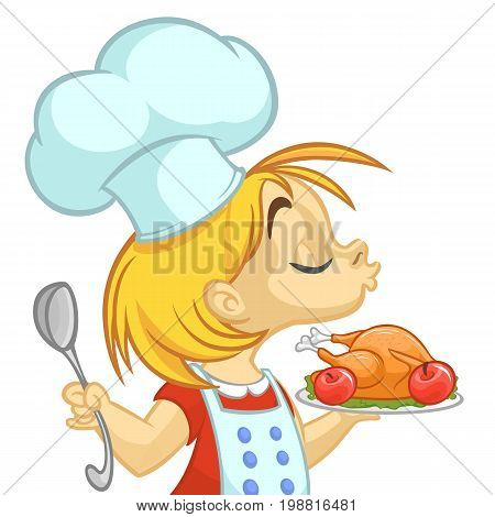 Cartoon small girl holding Thanksgiving Turkey on a tray. Vector illustration of teenager girl preparing turkey and wearing upron and chef's toque. Outline