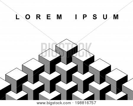 Abstract 3d cubes geometric optical illusion banner template in black and white, vector background
