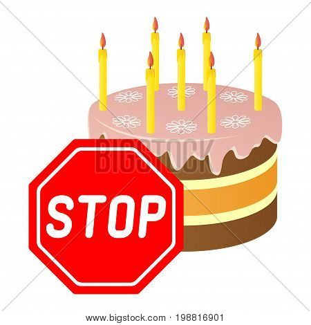 A festive cake for the prohibition sign. Vector illustration.
