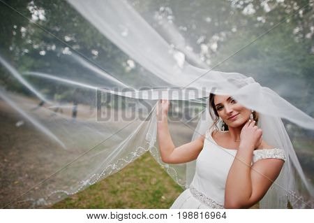 Portrait Of A Gorgeous Bride Posing With Her Long Veil In The Park On The Wedding Day.