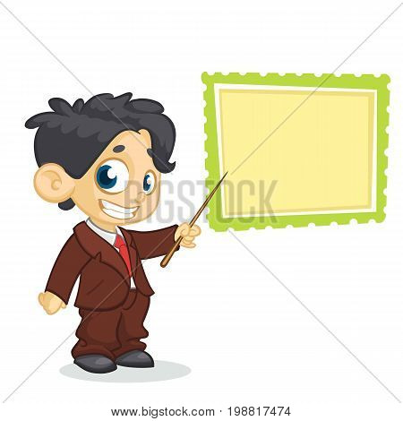 Cartoon young boy character in business suite pointing whiteboard. Vector illustration of a small boy presenting