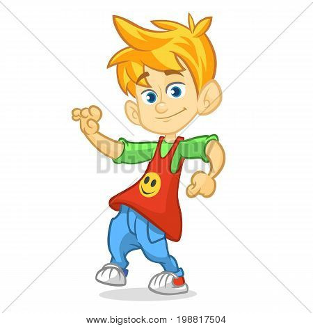 Vector color cartoon image of a cute teenage blond boy in fashion clothes. Little boy dancing and smiling on a white background. Color image with outlines.