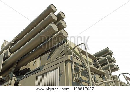 Pantsir-S1 (SA-22 Greyhound) missile and anti-aircraft weapon system on white background
