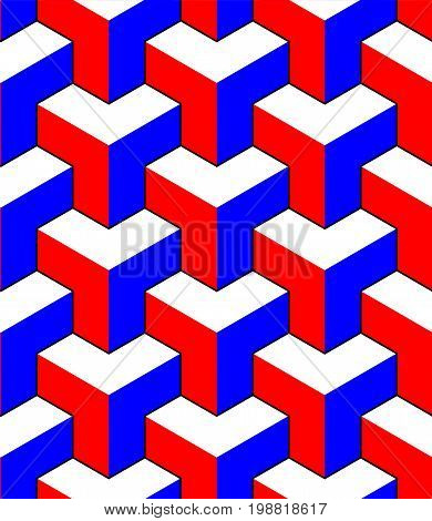 Abstract 3d cubes geometric seamless pattern in red blue and white, vector background