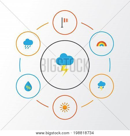 Weather Flat Icons Set. Collection Of Banner, Bow, Sun And Other Elements