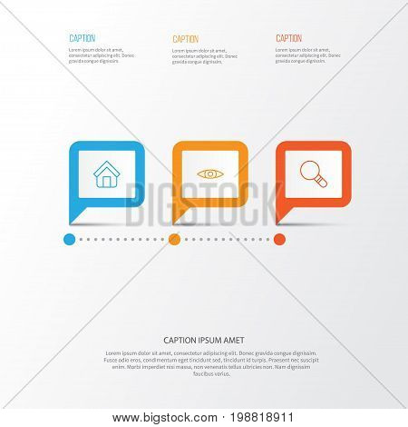 Web Icons Set. Collection Of Estate, Glance, Research And Other Elements