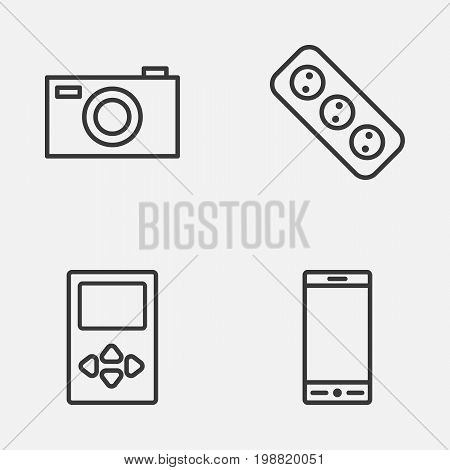 Device Icons Set. Collection Of Player, Extension Cord, Digital Camera And Other Elements