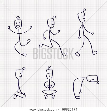 Stick figure of man with different poses of jumping, walking, running, bowing down, sitting and meditation. Hand drawn vector illustration