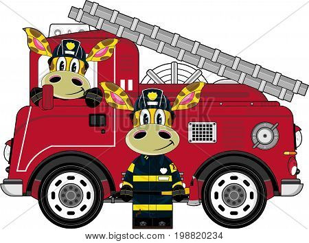 2 Giraffe Fireman & Engine.eps