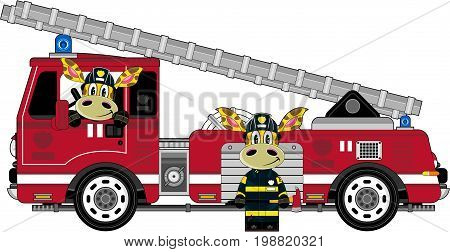 Fire Engine With Giraffes