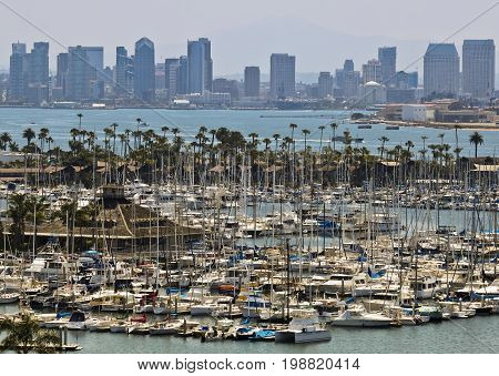 SAN DIEGO, CALIFORNIA, JUNE 8. Point Loma on June 8, 2017, in San Diego, California. A View of Shelter Island and Downtown San Diego from Point Loma in California.