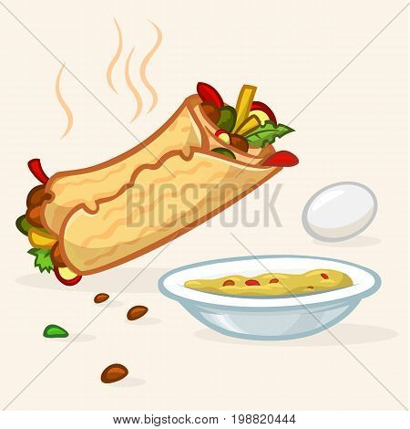 Vector illustration of Israel street falafel roll plate with hummus and egg. Street food icons