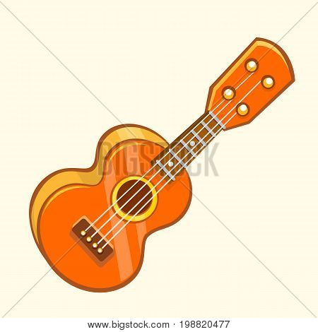 Cartoon Vector Illustration of Acoustic Guitar or ukulele. Cartoon clip art. Musical instrument icon