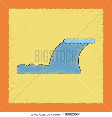 flat shading style icon of disaster tsunami