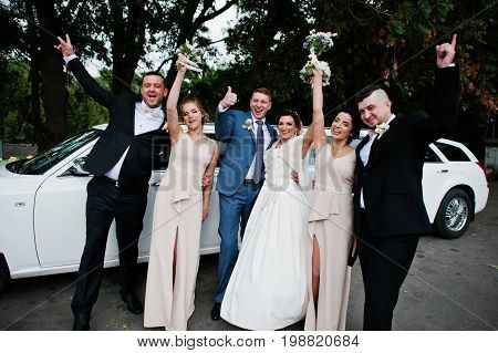 Wedding Couple And Groomsmen With Bridesmaids Posing Next To The Limousine.