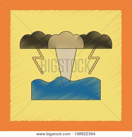 flat shading style icon of nature tsunami