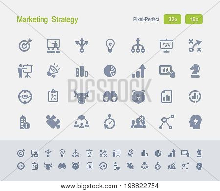 Marketing Strategy - Granite Icons  A set of 28 professional, pixel-perfect vector icons designed on a 32x32 pixel grid and redesigned on a 16x16 pixel grid for very small sizes.