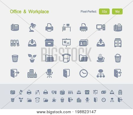 Office & Workplace - Granite Icons  A set of 28 professional, pixel-perfect vector icons designed on a 32x32 pixel grid and redesigned on a 16x16 pixel grid for very small sizes.