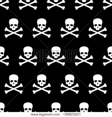 Seamless pattern with skull and bones. Jolly Roger. Image for wrapping paper. Poison icon. Vector illustration