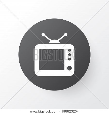 Premium Quality Isolated Television Element In Trendy Style.  Tv Icon Symbol.