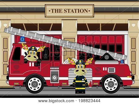 Giraffe Fire House Scene