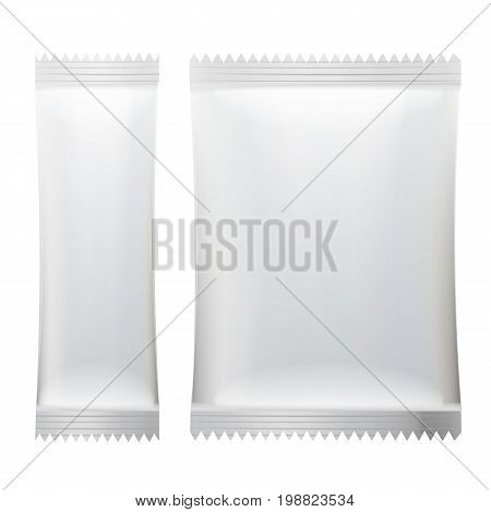 Sachet Vector. White Blank Of Stick Sachet Packaging. Sachets For Medicines. Good For Package Design. Realistic Isolated Illustration