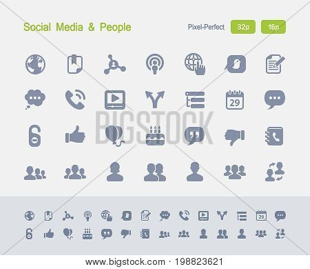 Social Media & People - Granite Icons  A set of 28 professional, pixel-perfect vector icons designed on a 32x32 pixel grid and redesigned on a 16x16 pixel grid for very small sizes.