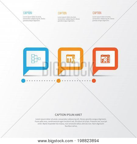 Authority Icons Set. Collection Of System Structure, Presentation Date, Project Targets And Other Elements