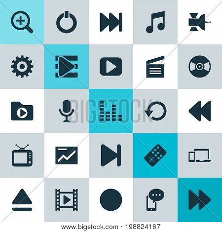 Music Icons Set. Collection Of Movie, Karaoke, Devices And Other Elements