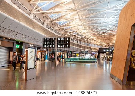 Zurich Switzerland - June 11 2017: Airport Zurich waiting area after check-in with Duty Free shops in front