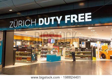 Zurich Switzerland - June 11 2017: Airport Zurich Duty Free shop entrance with lettering