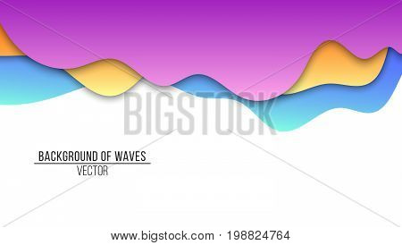 Abstract background of paper multicolored waves. Cardboard waves. Vector application with shadows on a white background. Background template for your project. Vector illustration
