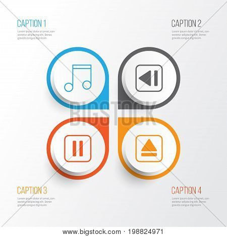 Music Icons Set. Collection Of Extract Device, Mute Song, Note And Other Elements