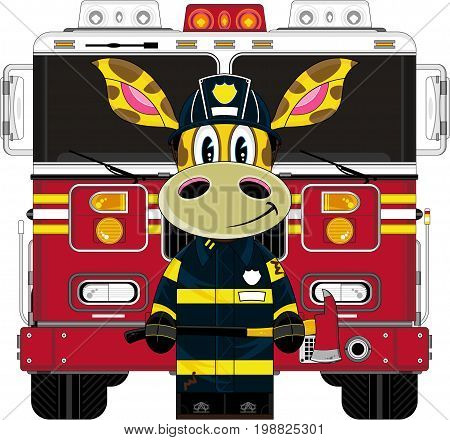 Giraffe Fireman And Engine.eps