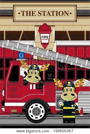 Giraffe Firemen Scene