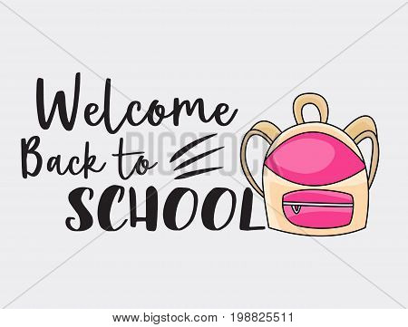 Welcome back to school doodle clip art greeting card. Cartoon vector illustration for flyer to banner. Typography script text.