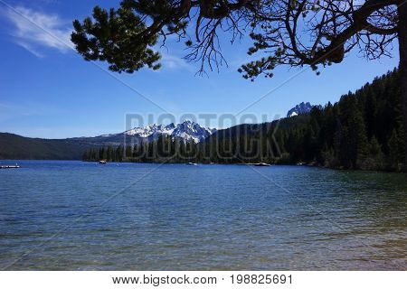 Idaho's Sawtooth Mountains and Redfish Lake near Stanley.
