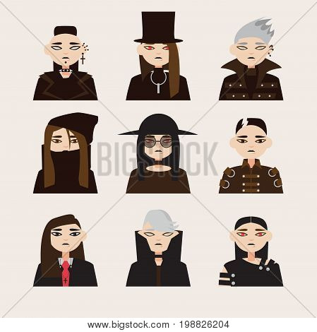 Vector set with avatars of gothic man in hats with dark hair and colored eyes lens. Different young men isolated on background