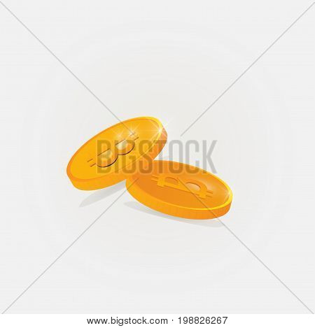 Bitcoin Cash vector illustration. Two gold coins with bitcoin symbol on them.