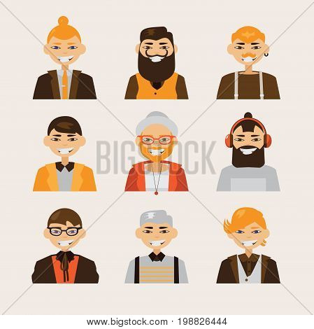 Vector set with male hipster avatars smiling and watching at spectator. Bright characters with various hairstyle and clothes