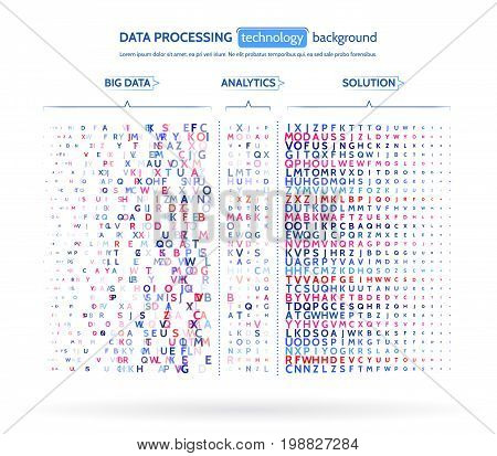 Big data visualization. Information analytics concept. Abstract stream information. Filtering machine algorithms. Sorting letter code. Vector technology background.