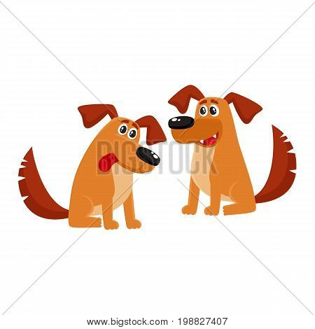 Two funny cute brown house dog characters sitting friendly, cartoon vector illustration isolated on white background. Couple of funny dog, puppy characters sitting with nice friendly expression