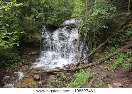 Wagner Falls located in Michigan's Upper Peninsula near Munising, MI