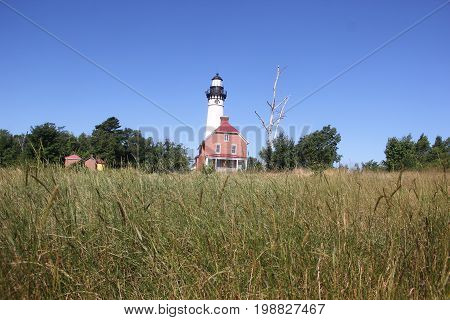 The Au Sable Lighthouse located in Pictured Rocks National Lakeshore, Upper Peninsula of Michigan