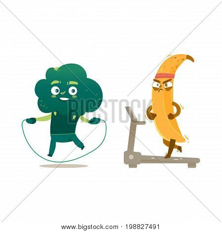 Funny broccoli and banana characters doing sport exercises - jumping and running, cartoon vector illustration isolated on white background. Funny broccoli and banana heroes, characters training
