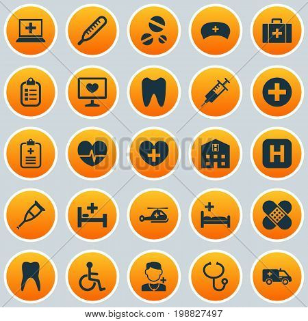 Drug Icons Set. Collection Of Heal, Chest, Cure And Other Elements