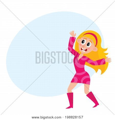 Pretty blond woman in pink dress, retro disco dancer, cartoon vector illustration with space for text. Young woman in short pink dress dancing at retro disco party, having fun