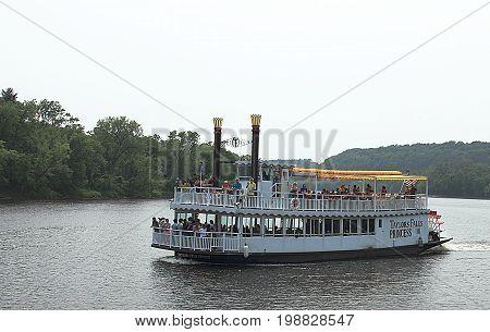 Taylors Falls, Minnesota - July 3, 2015. Scenic Boat Tour on Saint Croix River at Taylors Falls in Minnesota