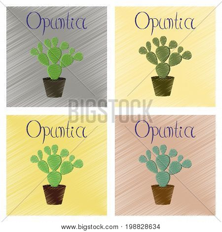 assembly flat shading style Illustrations of plant Opuntia